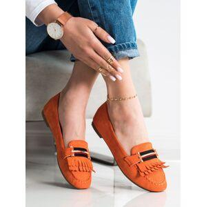 Výborné oranžové dámské  mokasíny bez podpatku 36