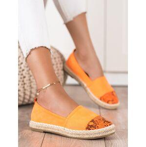 Výborné oranžové  polobotky dámské bez podpatku 36