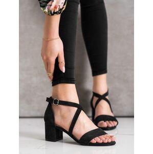 Výborné  sandály černé dámské na širokém podpatku 36