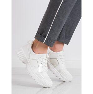 Zajímavé bílé  tenisky dámské bez podpatku 39