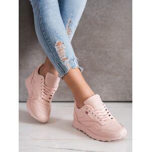 Zajímavé růžové dámské  tenisky bez podpatku 39
