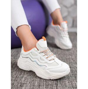 Zajímavé  tenisky dámské bílé bez podpatku 38